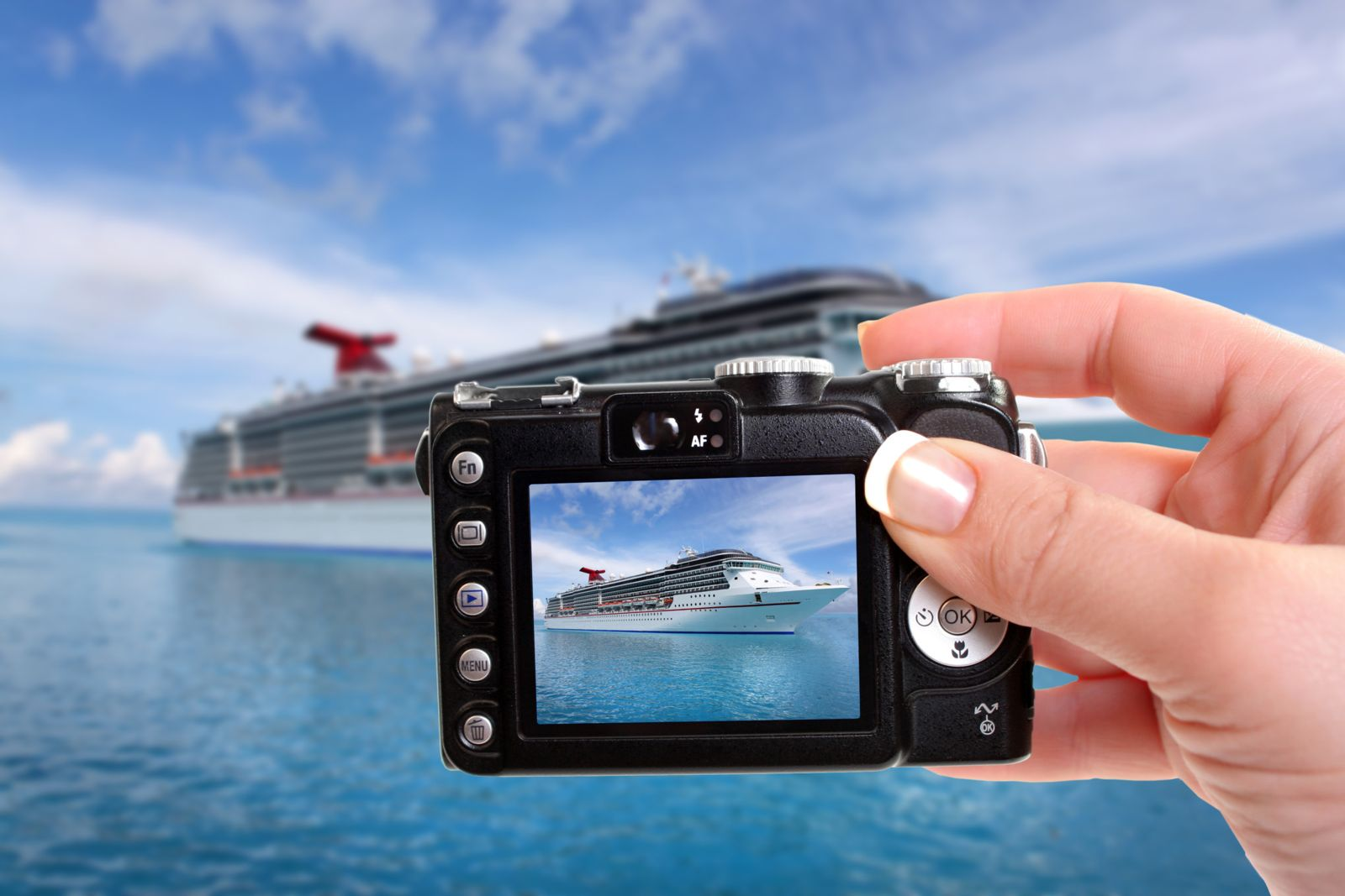 Digital camera - taking picture of cruise ship
